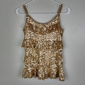INC International Concepts Gold Sequined Tier Tank